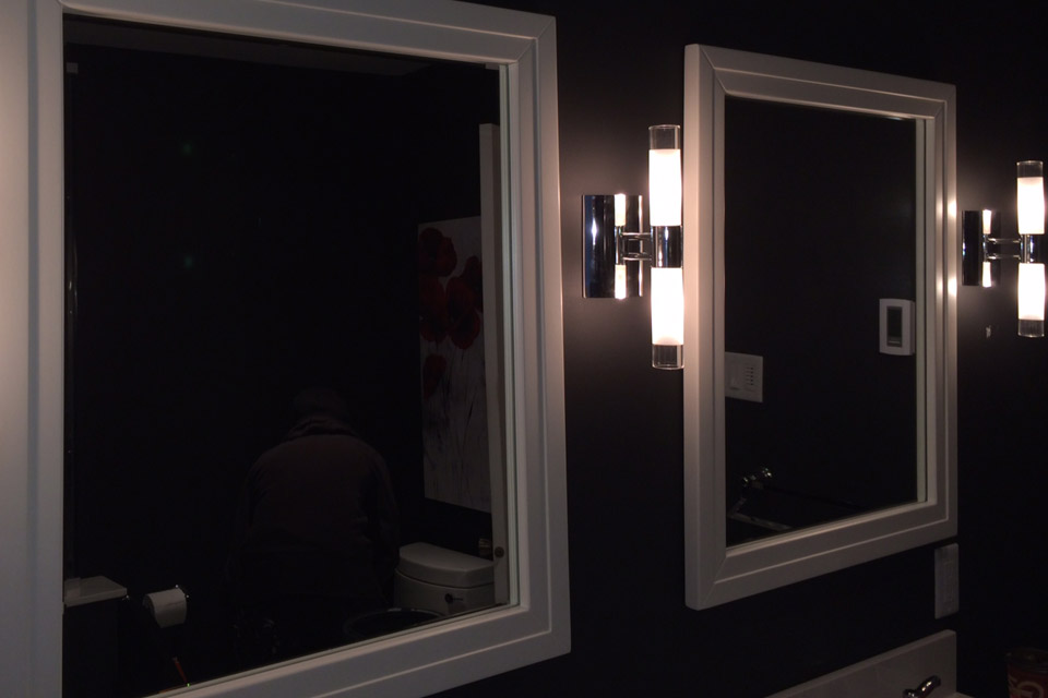 Bathroom mirrors with unique lights