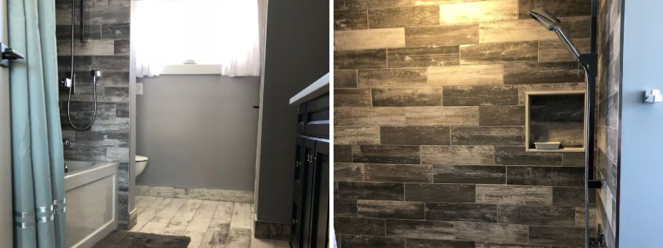 installed bathroom wall tiles