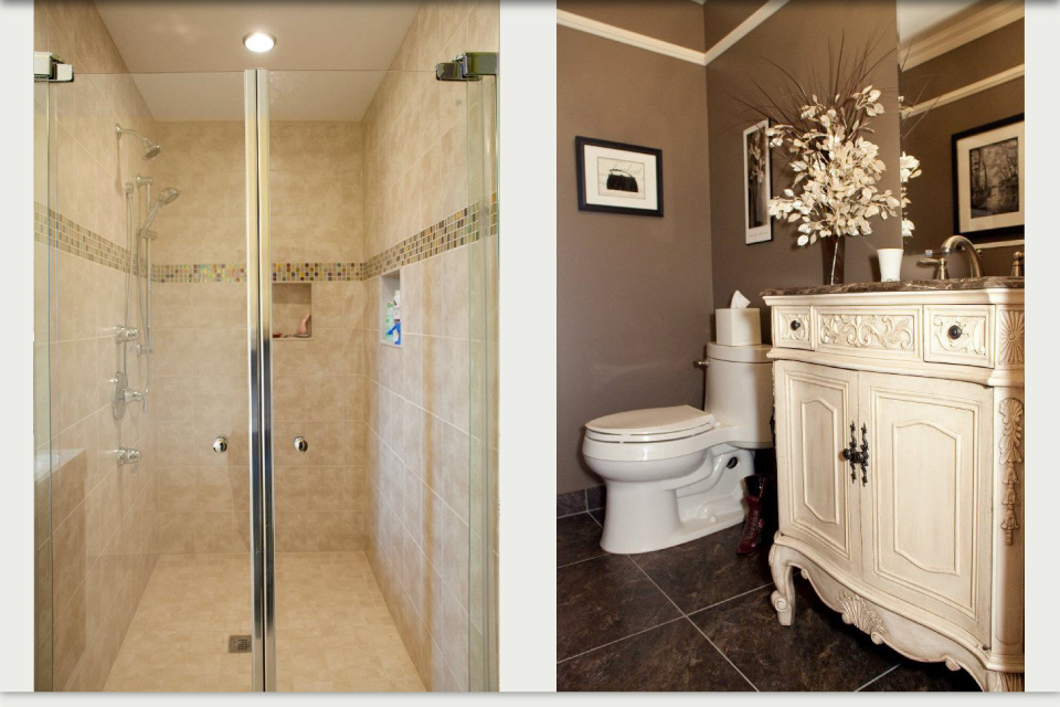 Shower and vanity with toilet