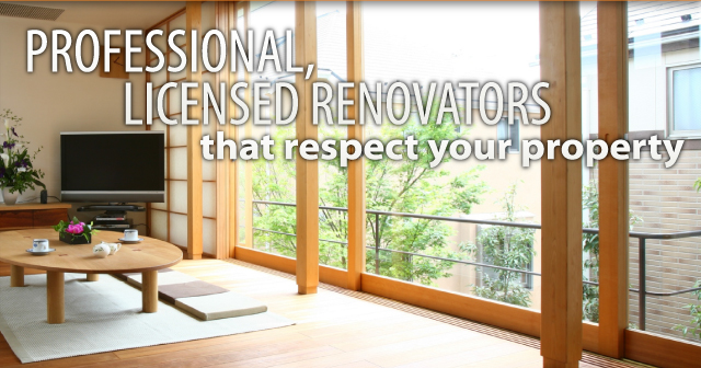 Professional, licensed renovators that respect your property | Living room with large windows